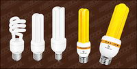 Yellow and white energy-saving lamps vector