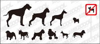 Vector silhouette of a variety of dog material