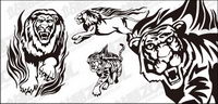 Tiger lion flame totem vector material