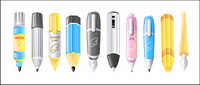 Lovely pen icon vector material