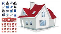 House with 2 sets of utility icon vector material