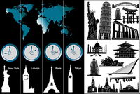 World-renowned architecture and the time zone vector material
