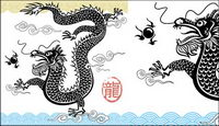 Black-and-white Chinese dragon vector material