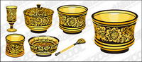 Classical pattern vector material Series -1 - golden utensils