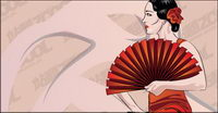 Woman holding folding fan Vector material