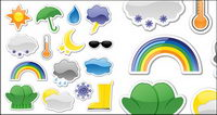 Icon style vector stickers weather material