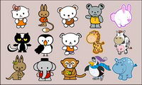 Cartoon animals vector material-2