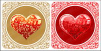 Beautiful crystal style heart-shaped pattern vector material
