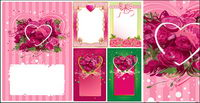 roses decorated heart-shaped vector material frame