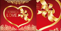 Gold heart-shaped vector material Ribbon