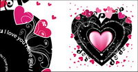 Black heart-shaped vector material elements