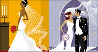Western-style wedding material vector illustrations