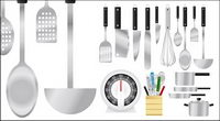 Vector collection of kitchen appliances, material