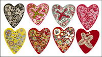 The trend of a number of lovely heart-shaped vector material
