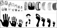 Vector material traces of a variety of tire footprint