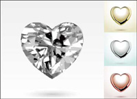 Heart-shaped diamond jewelry pendant vector material