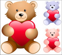 Teddy bear holding heart-shaped vector material