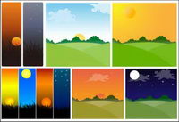 Sunset theme vector material