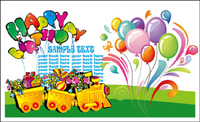 Happy birthday theme vector of material