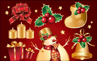 Aureate Christmas element vector of material