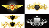 Pattern grain vector wings. Shield