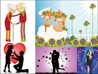 Happy couples and couples Vector