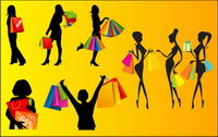 Vector silhouettes of women shopping