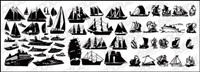 A variety of sailing boats silhouette Vector