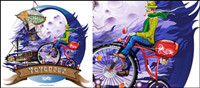 Fly to the moon - Canadian bike brand Illustrator Vector