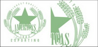 Green wheat badges vector