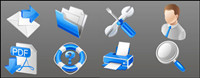 Blue practical business icons - vector material