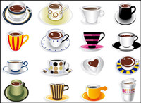 All kinds of fine coffee cups - Vector