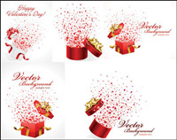 Romantic gift opening moments - vector material