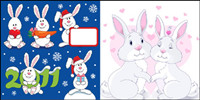 Lovely Christmas Rabbit - Vector