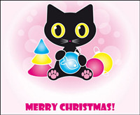Cute black cat vector material