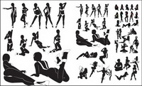 Sexy women silhouettes vector material