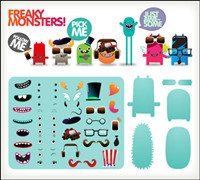 Free to dress the little monster vector material