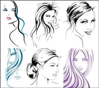 Hand-painted women vector material