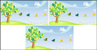 Lovely trees singing bird vector material