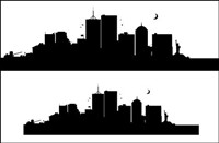 U.S. city, New York silhouette Vector