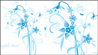 Simple hand-painted flowers and blue text background Vector -5