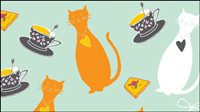 Cat cartoon background 04-- vector material
