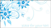 Simple blue hand-painted flowers and patterns of text background vector -1