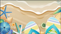 Exquisite cartoon ocean background 01 - vector