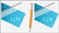 Realistic learning stationery 03 - vector