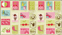 Cartoon illustrations of stamps 02 - vector