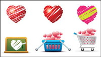Romantic heart-shaped icon 02 - vector