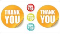 """ThankYou"" round stickers vector"
