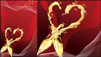 Heart-shaped champagne vector -4