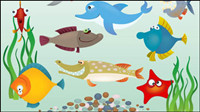 Cartoon marine fish - vector material